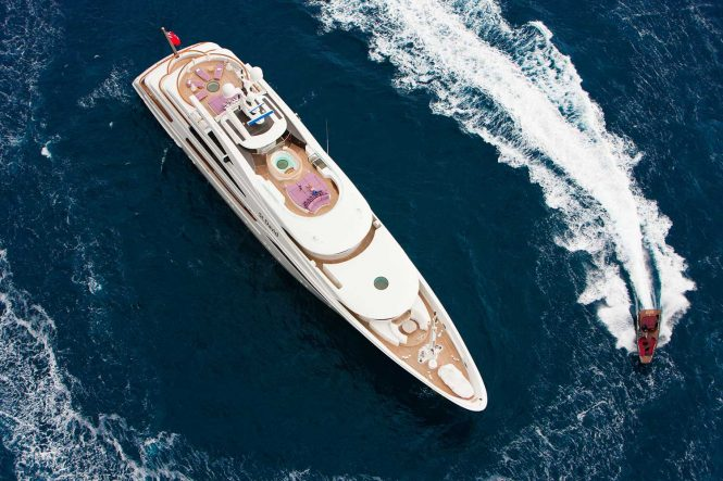 Luxurious superyacht ST DAVID as viewed from above with all the amazing amenities and spaces on board