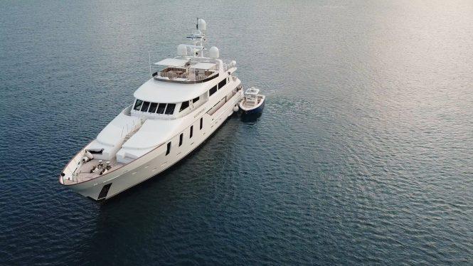 Luxury motor yacht Silent World II on the water