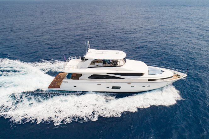 Luxury yacht Johnson 80 aerial