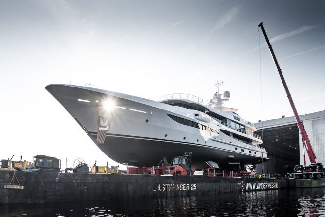 Luxury yacht PAPA during her launch
