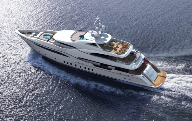 STARBURST III aerial view of the superyacht