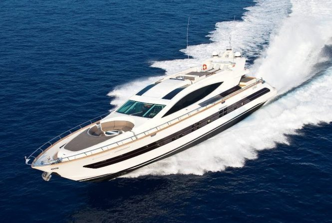 Sporty and fast luxury yacht TOBY available for charter in the Western Mediterranean