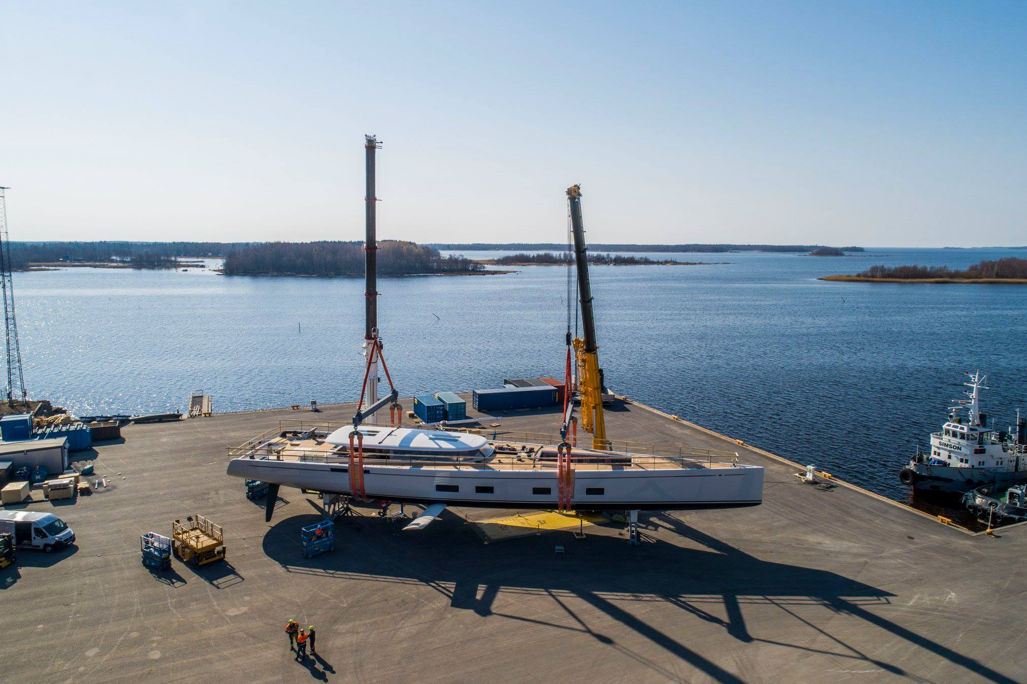 Baltic 142 Canova yacht getting ready for launch - Photo © Baltic Yachts.