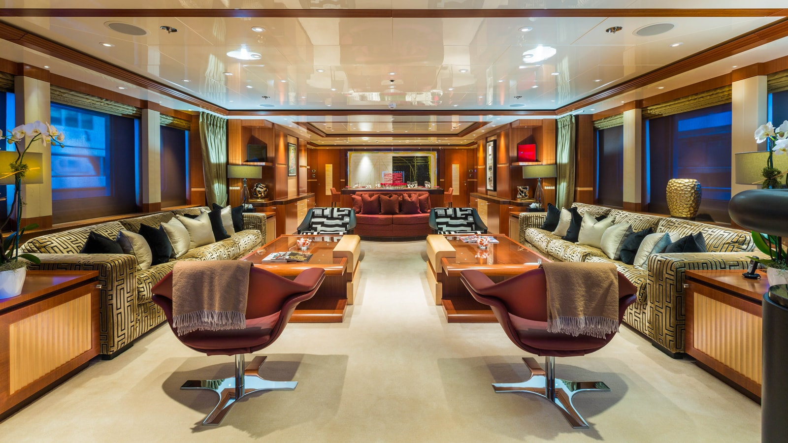 Lush saloon with large seating areas