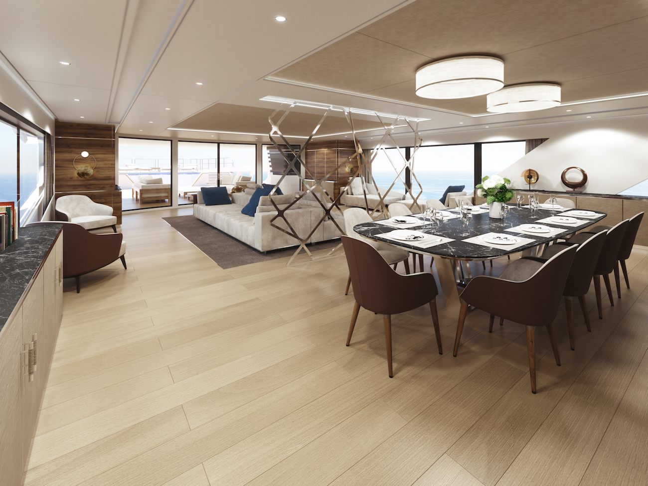 Rosetti Superyachts 52m dining area