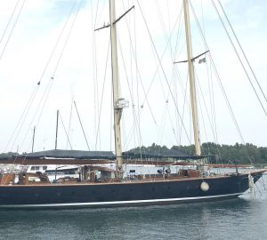 Classic 1913 sailing yacht Vagrant nearing launch following refit