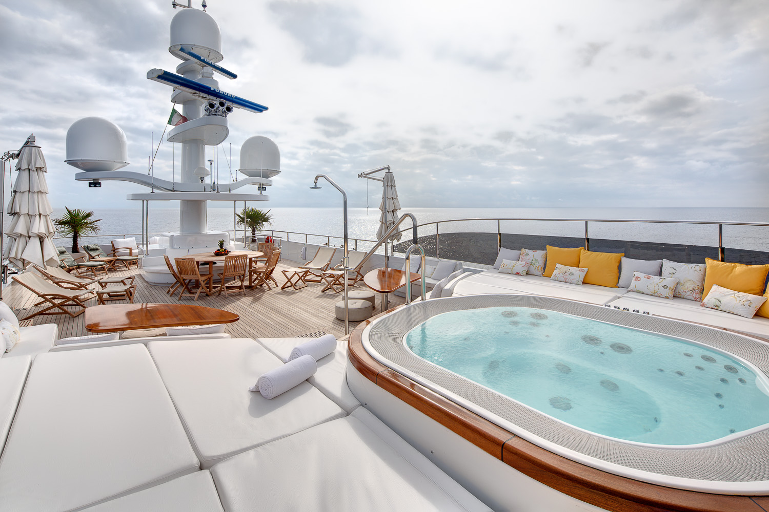 Sun deck with Jacuzzi and seating to relax