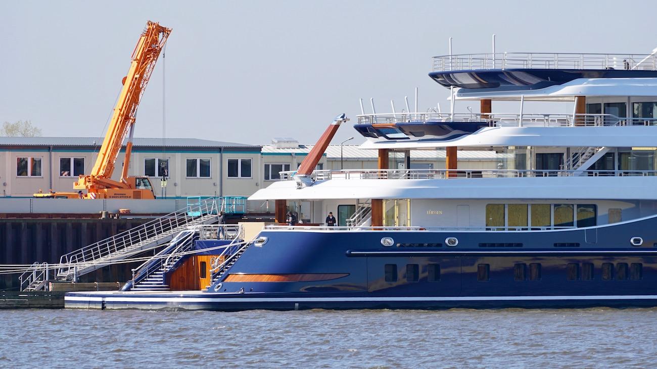 The transom of mega yacht TIS boasting a large beach club - Photo © DrDuu