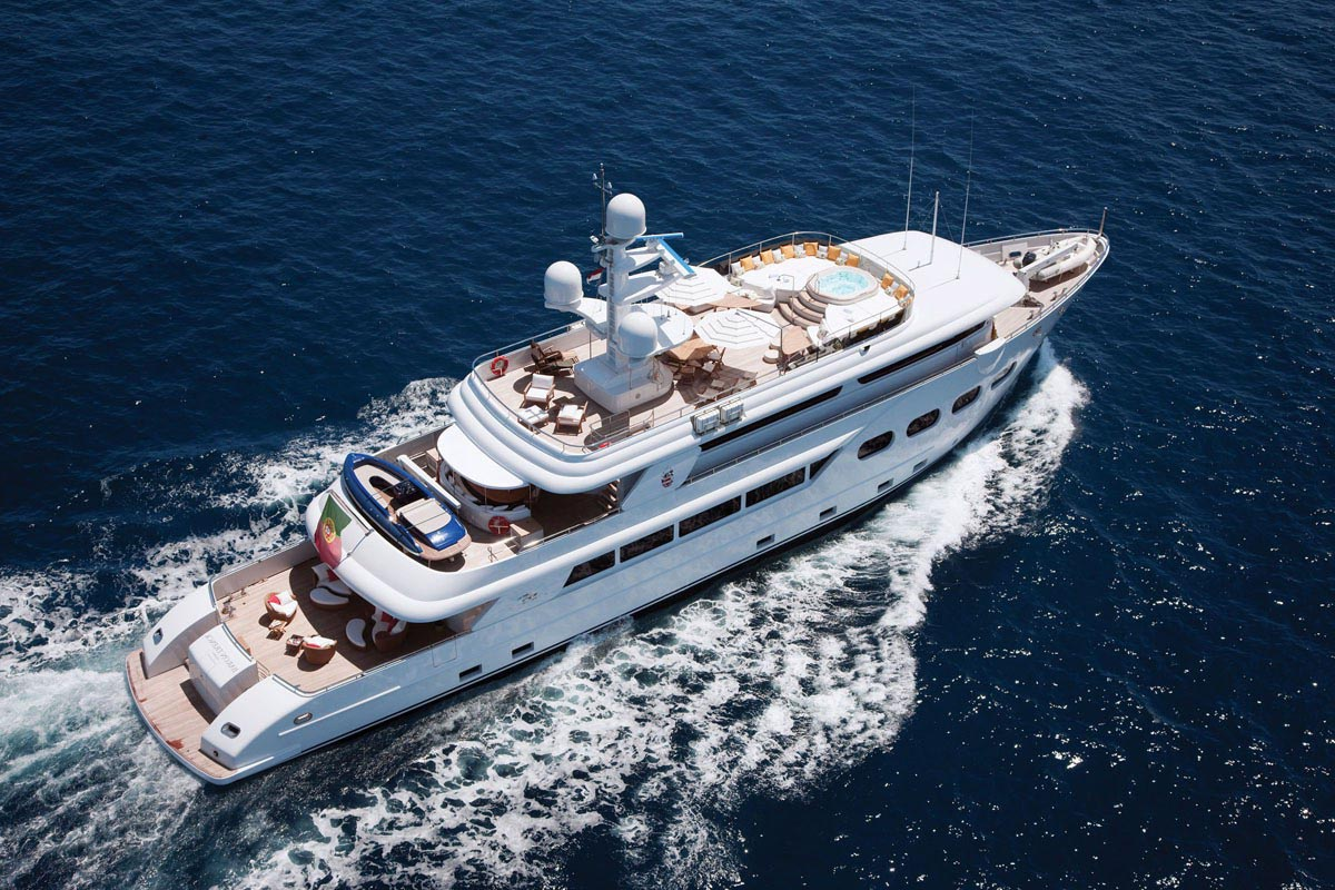 Aerial view of the superyacht BARON TRENCK