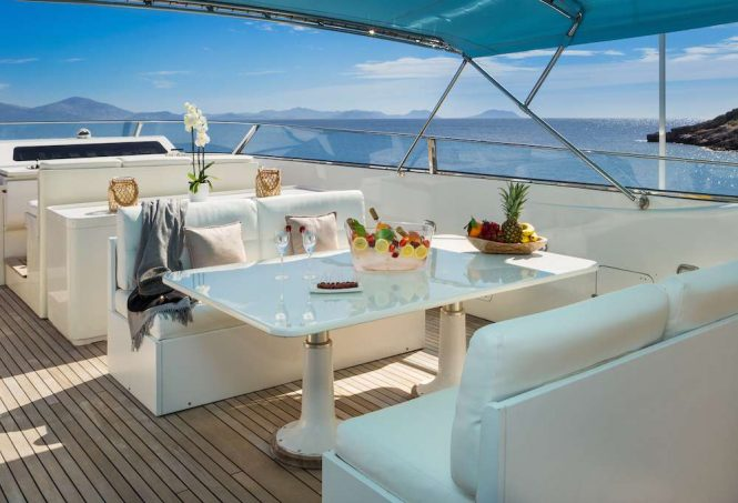 Alfresco dining set up on flybridge