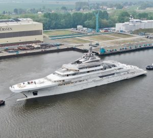 140m+ Superyacht OPUS - Project REDWOOD by Lurssen moved to reconstructed floating dock