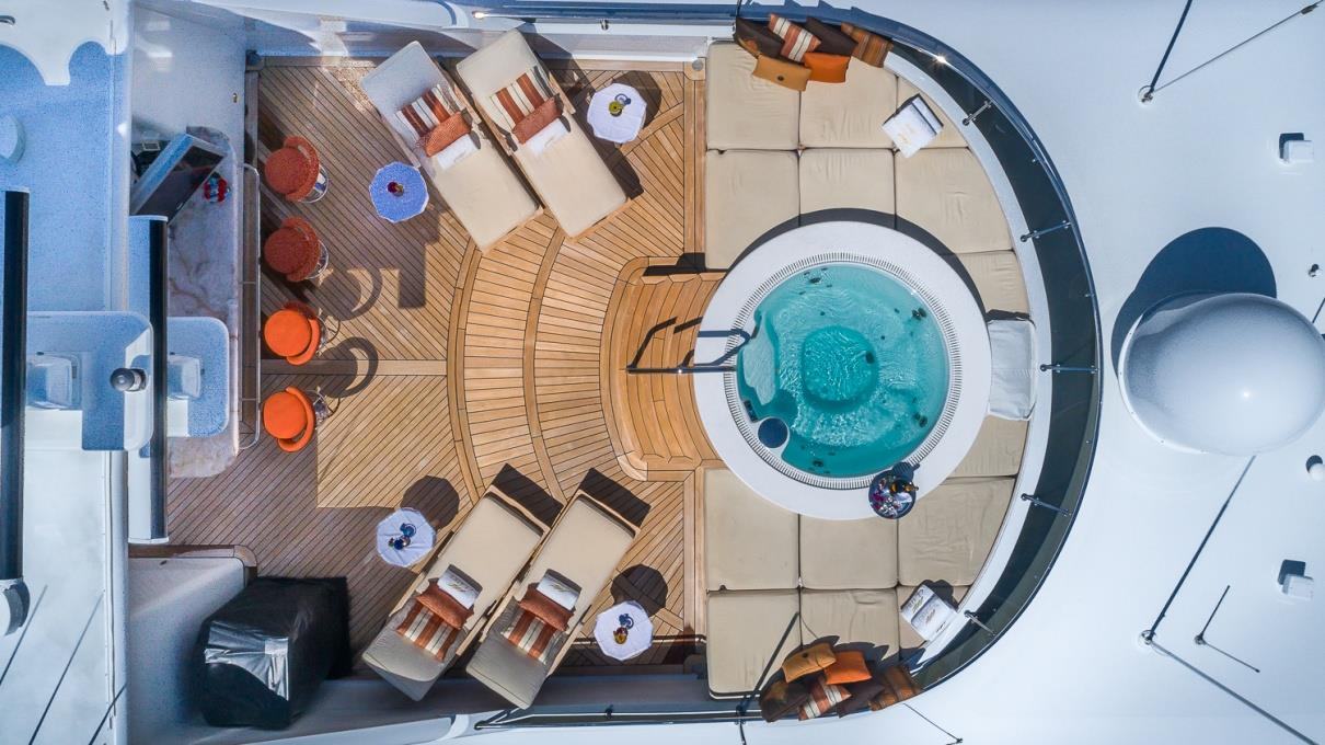 aerial view of the yacht's sun deck