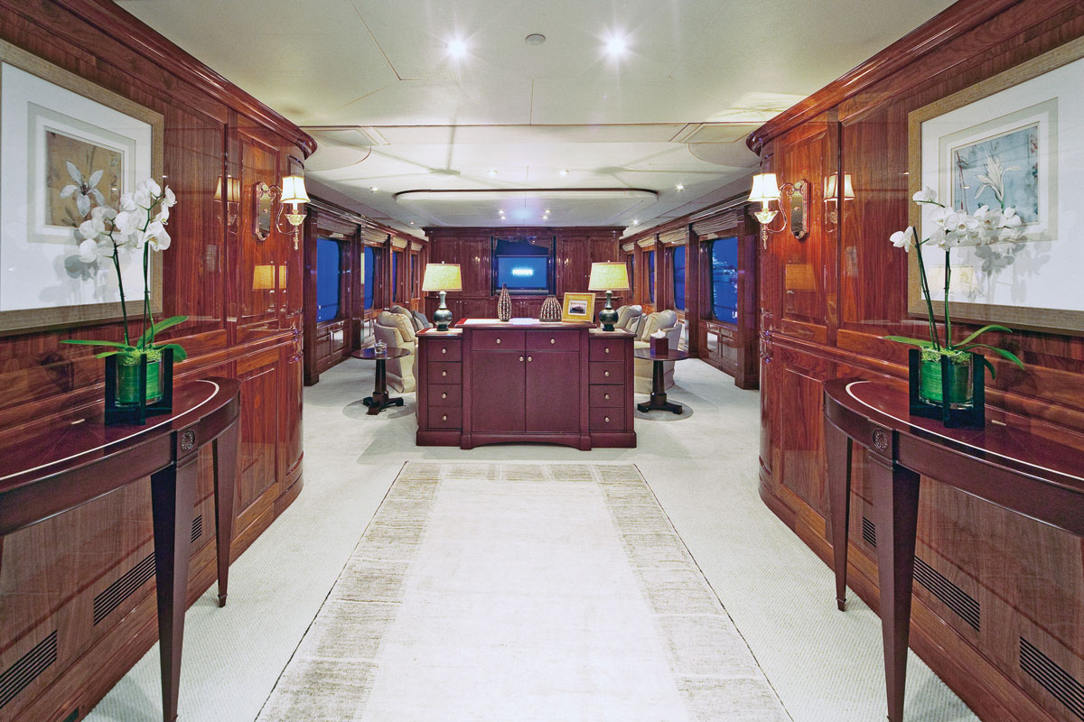 Elegant classically decorated saloon with comfortable seating