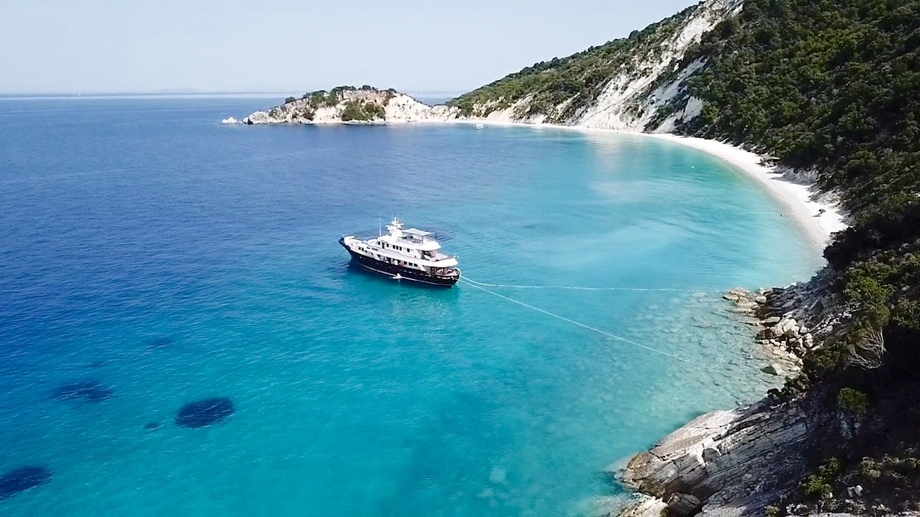 Enjoy the beautiful secluded beaches aboard your private charter yacht in the Eastern Mediterranean