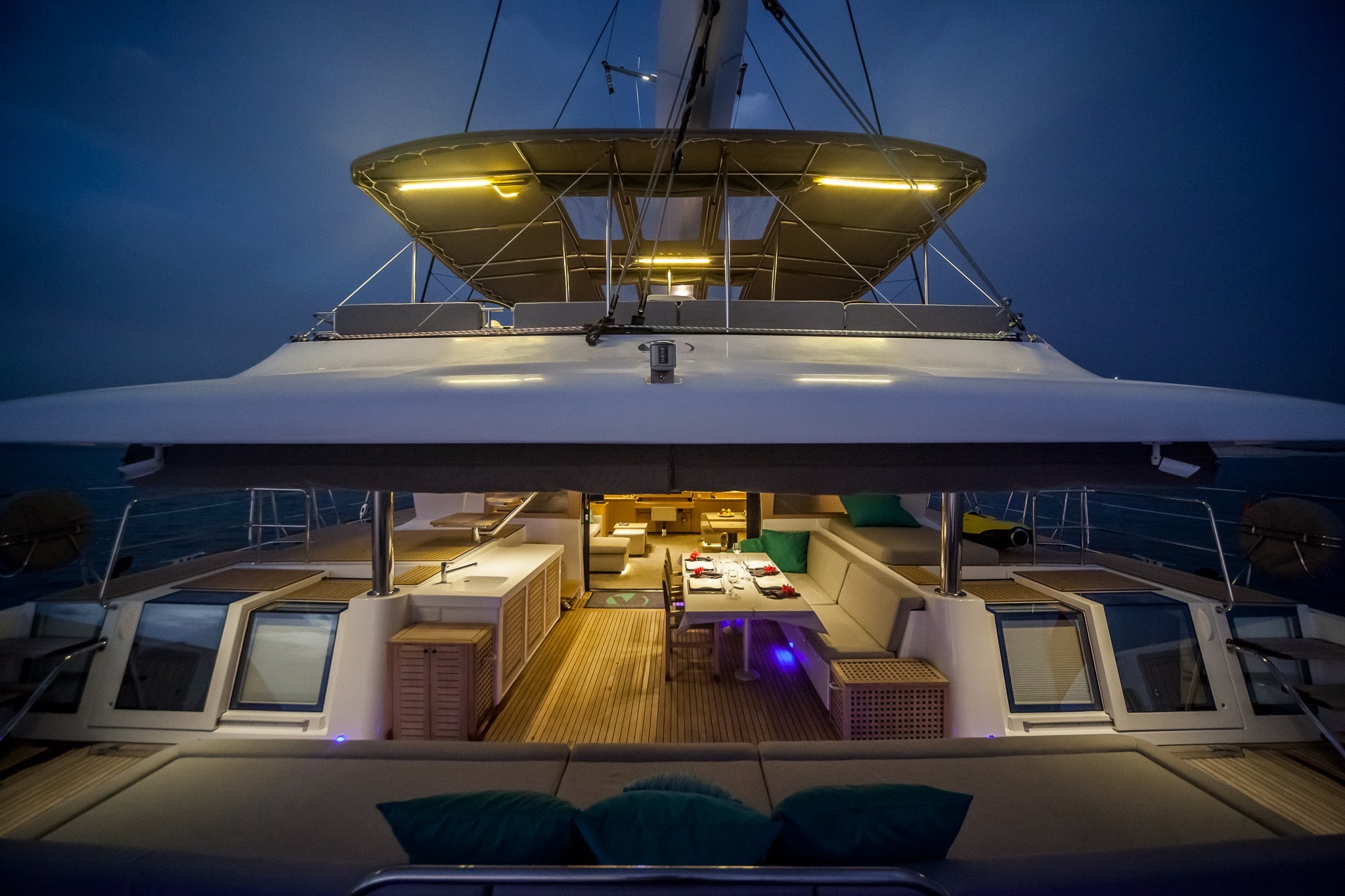 exterior deck areas in the evening