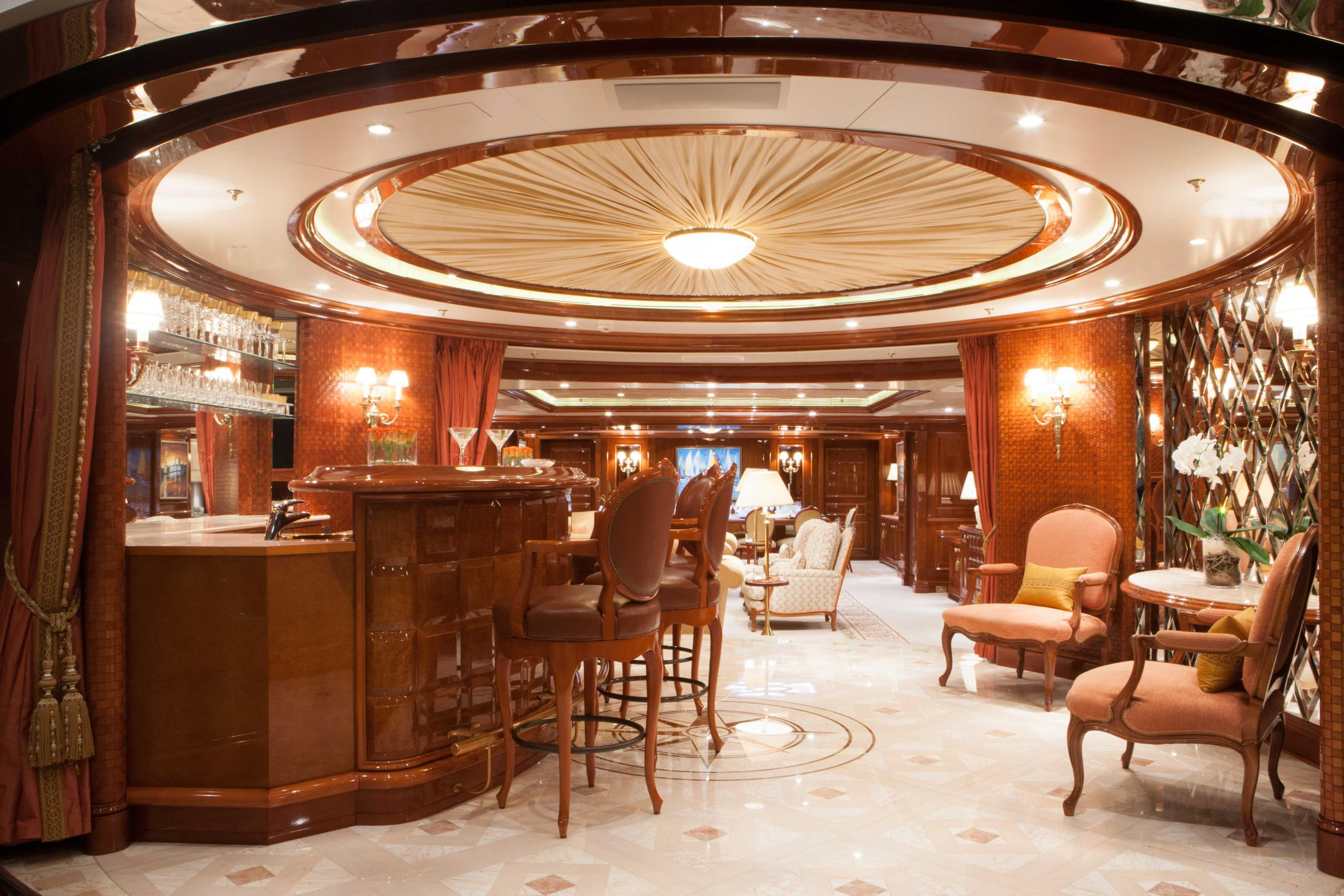 Main saloon with classic interior design and beautiful woodwork