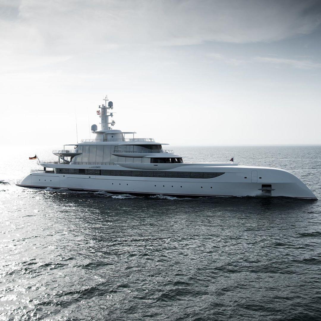 Abeking and Rasmussen 80m superyacht Excellence captured on sea trials. Photo credit Tom Van Oossanen
