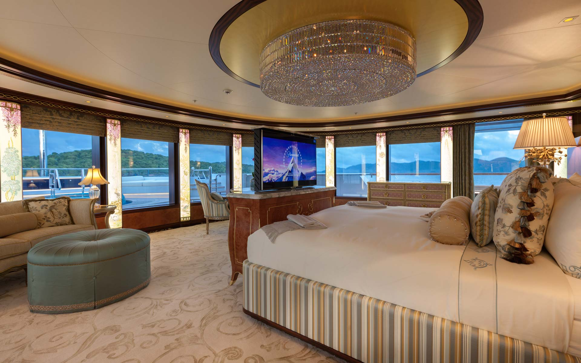 Master stateroom with a private deck area