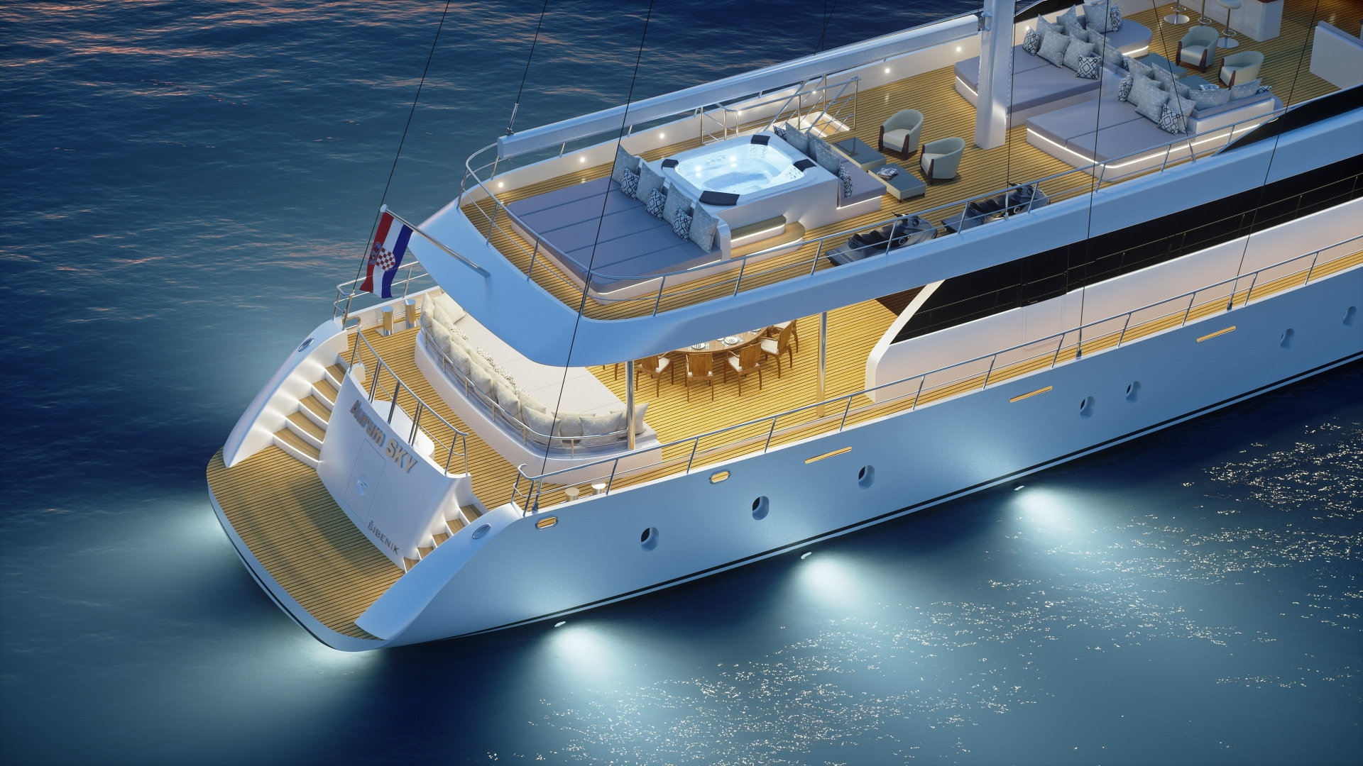 aft deck lit in the evening - rendering