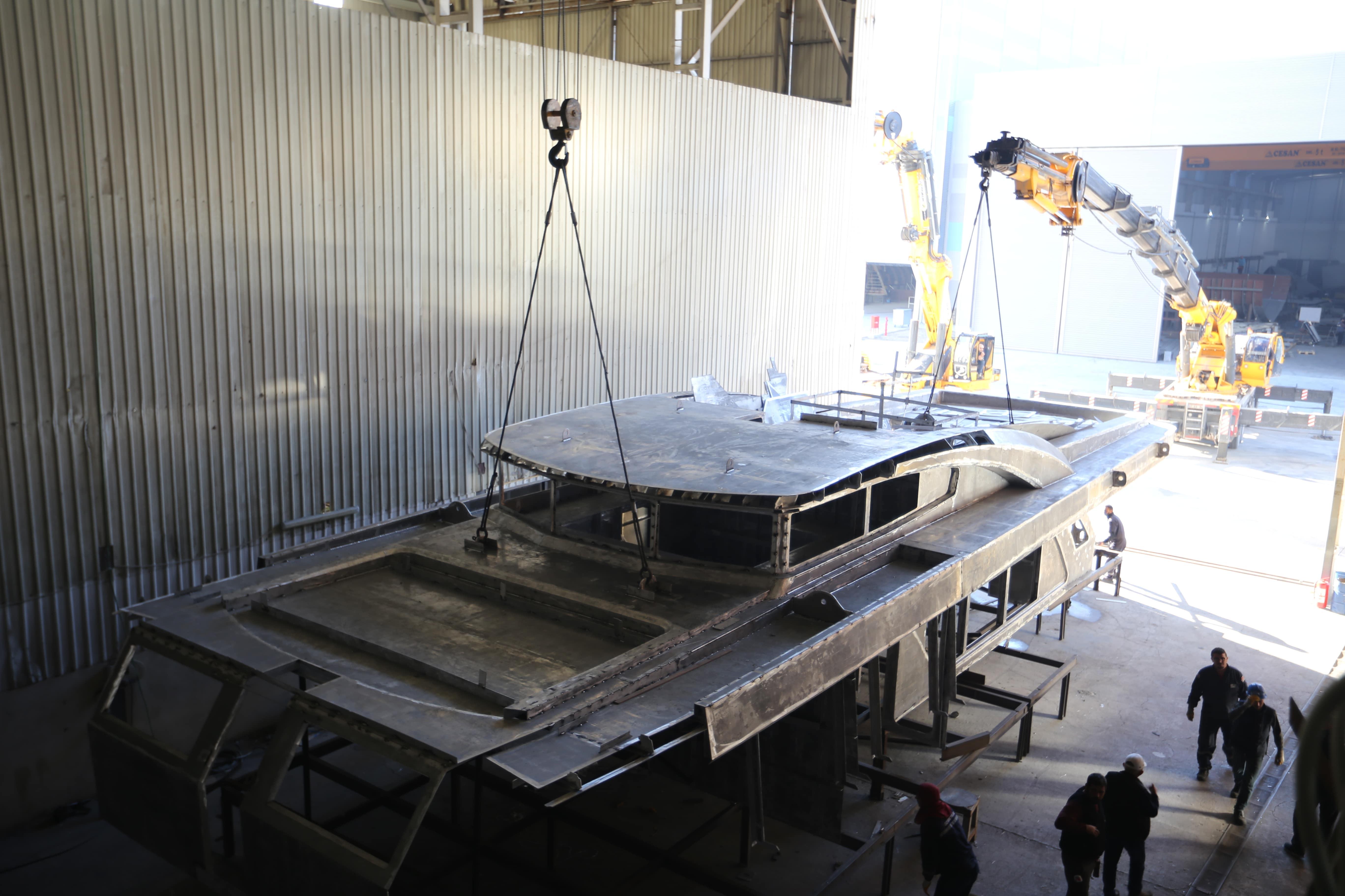Bering 92 yacht under construction