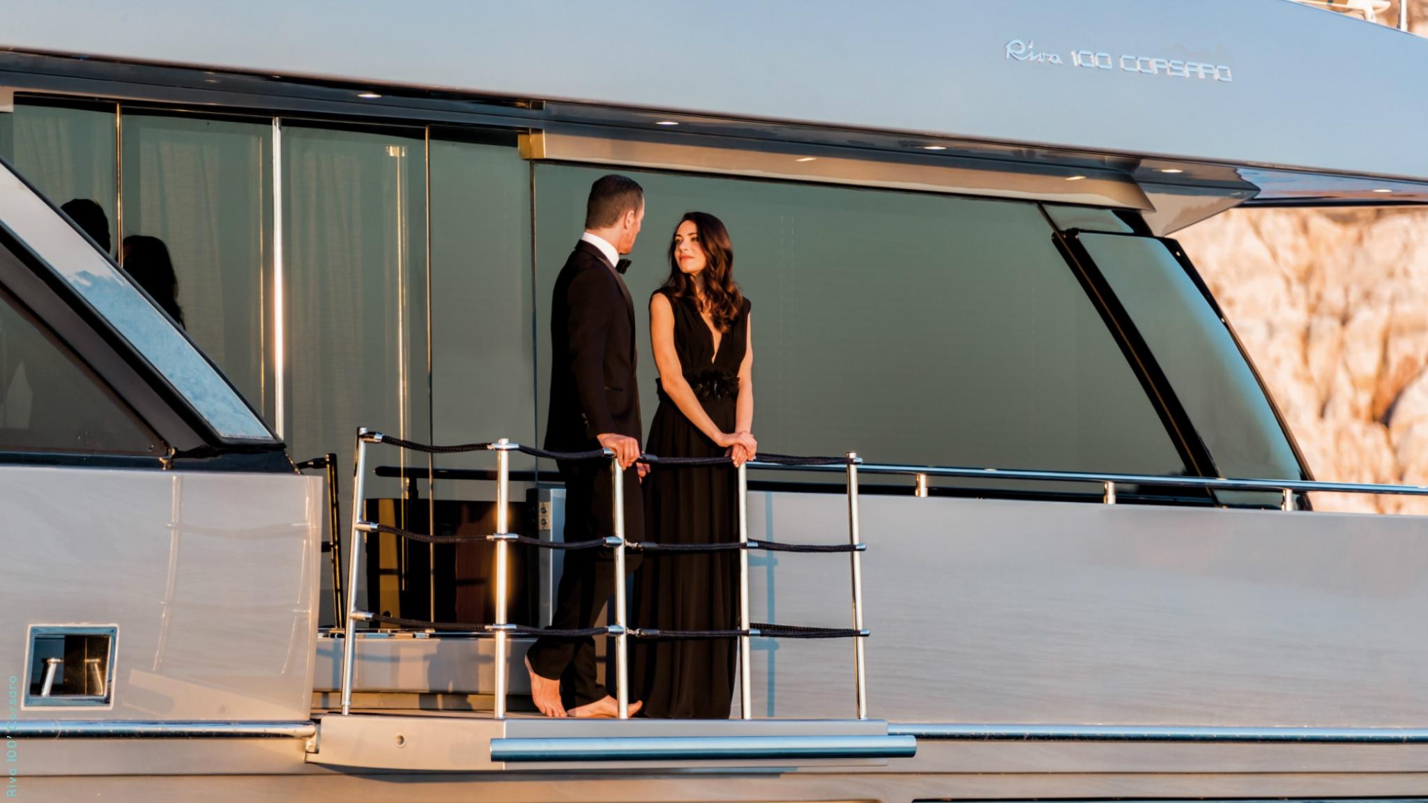 Riva 100 Corsaro yacht - couple on board - lifestyle @ RIVA