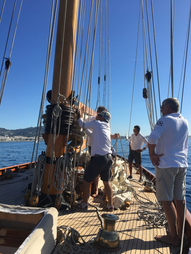 Racing aboard classic sailing yacht Moonbeam Of Fife