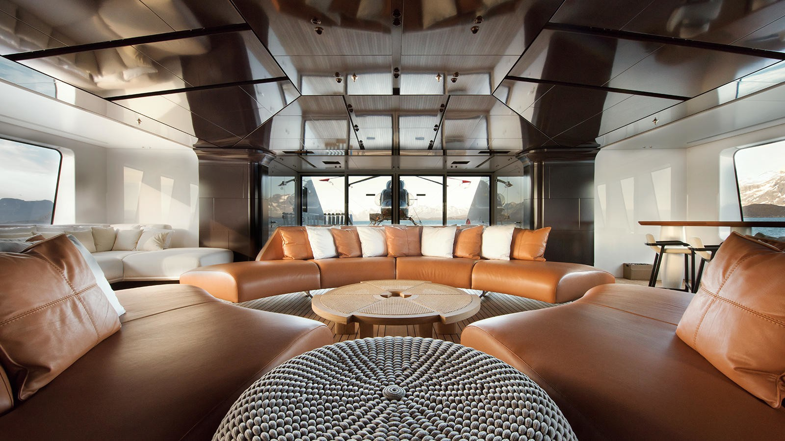 Interiors of the yacht with the helipad aft