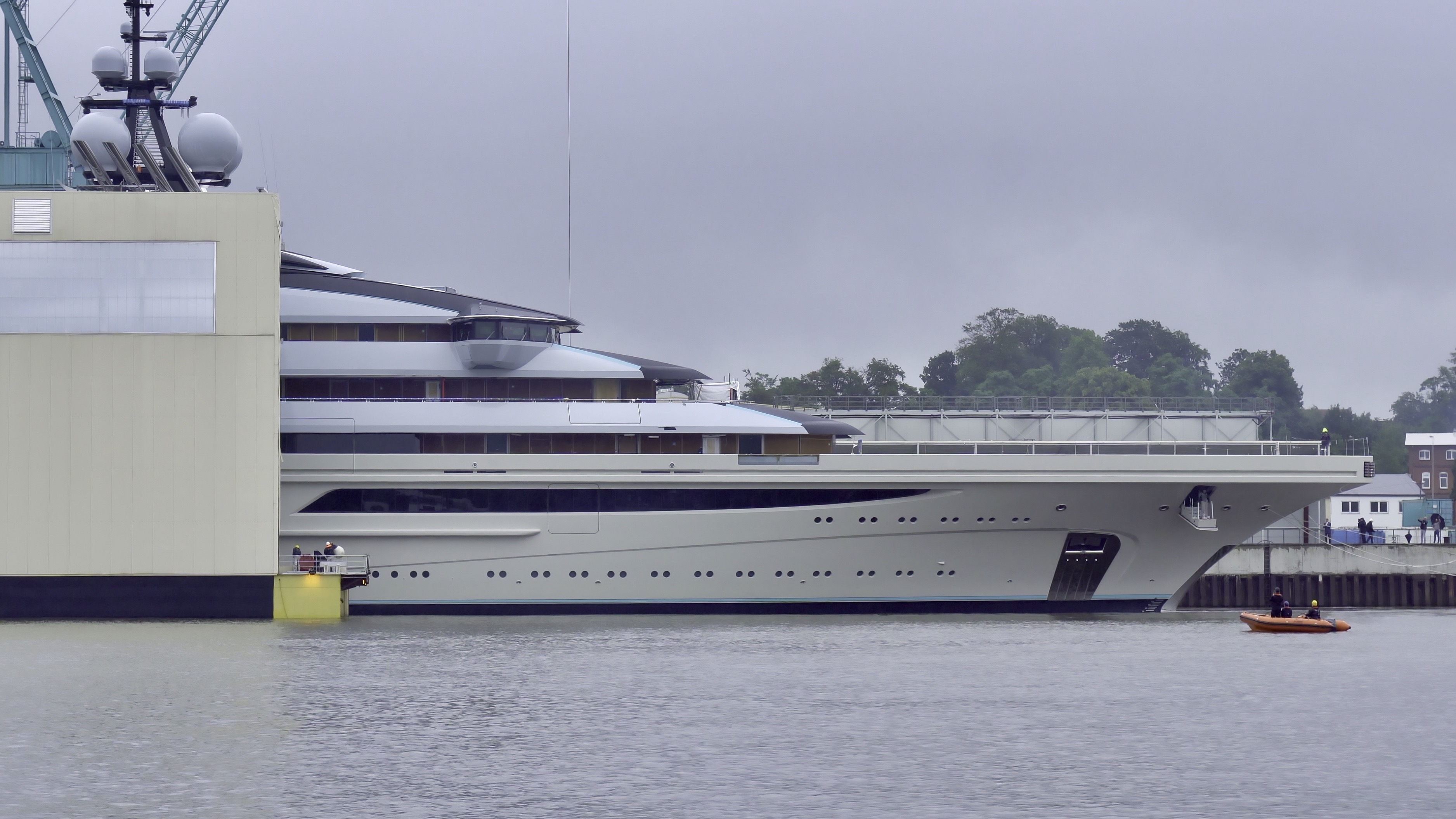 Floating mega yacht OPUS out of the shed at Lurssen in Germany -Photo © DrDuu