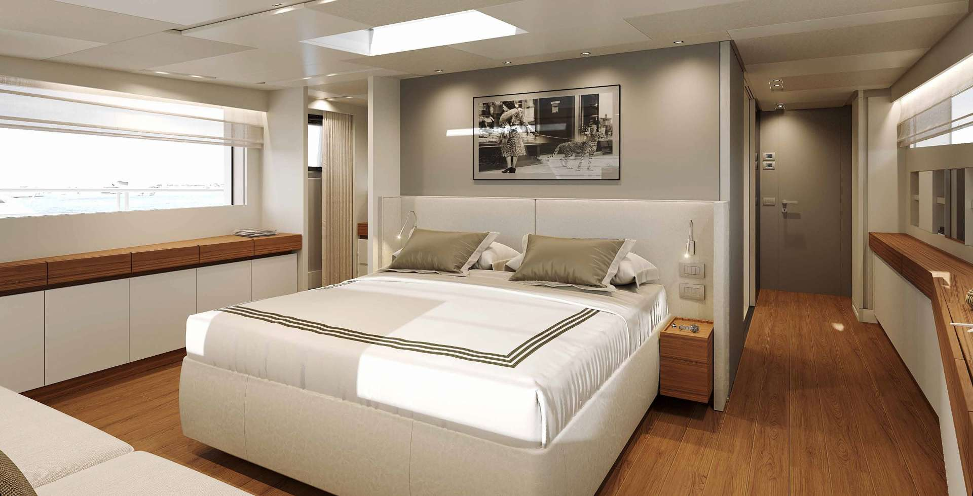 Beautiful master suite with clean modern lines