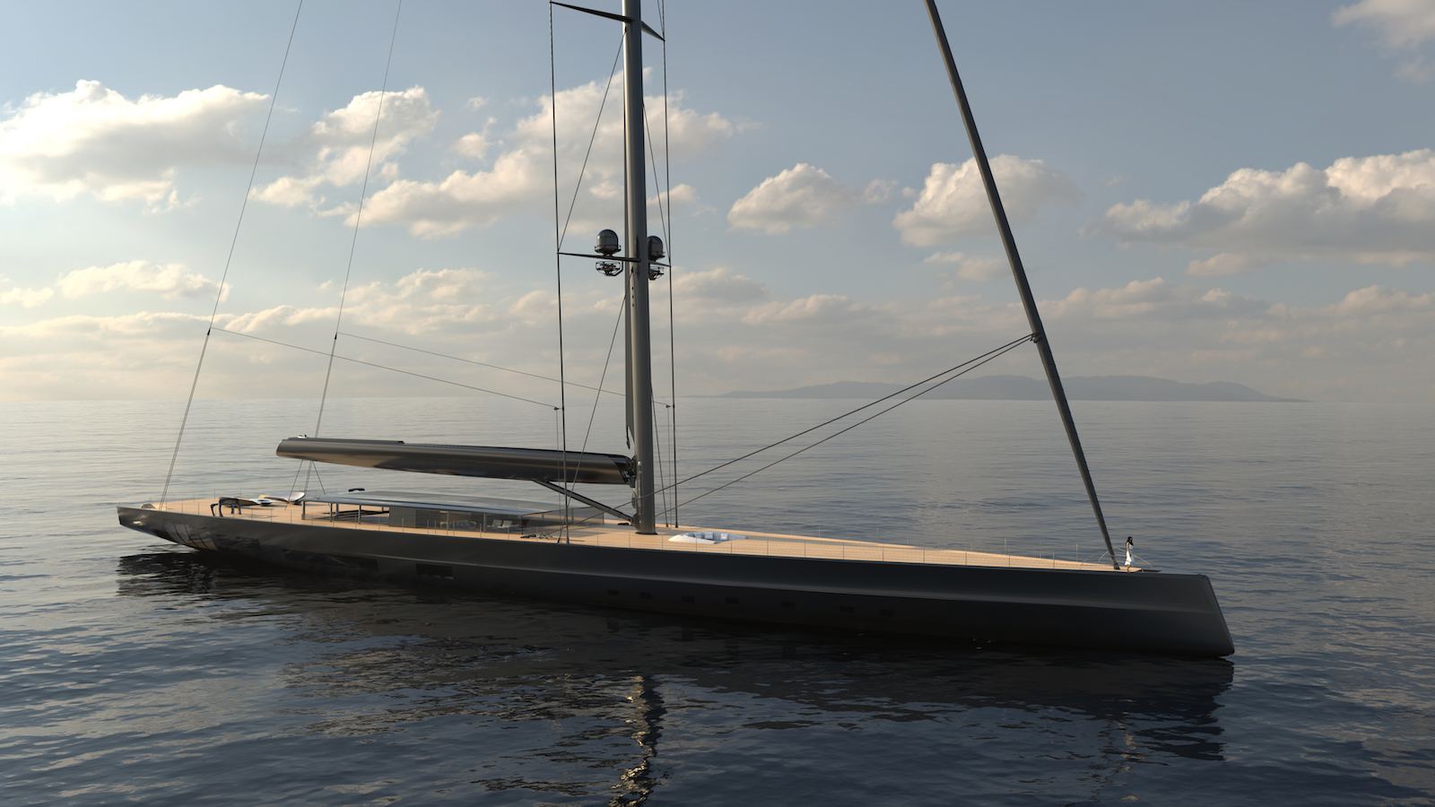WORLD'S LARGEST SAILING YACHT - SLOOP APEX 850 CONCEPT - at anchor fwd