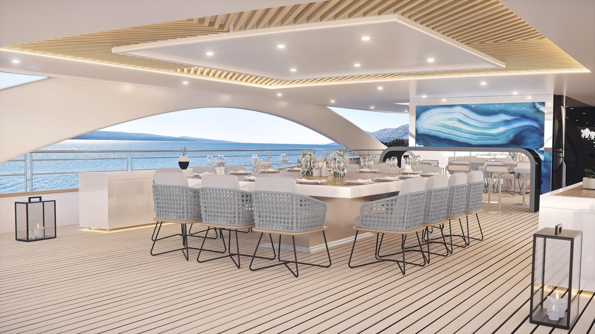 Elegant dining area on the sun deck