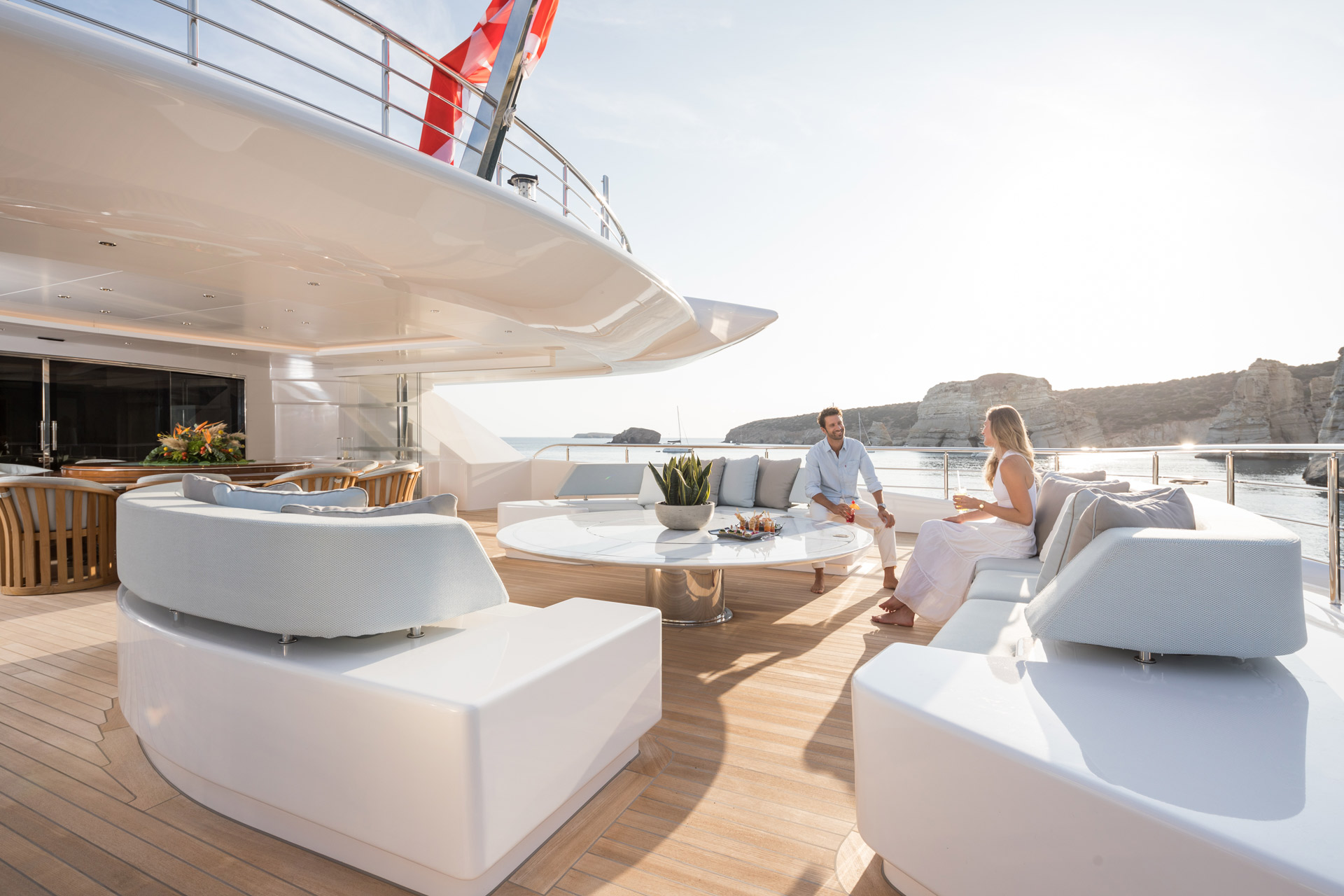 Aft deck seating aboard O'PARI superyacht launched in 2020 - Photo © Jeff Brown Photography