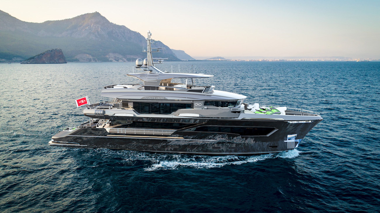 rendering of Infinity Nine yacht
