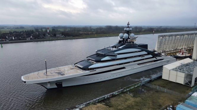 Aerial view of the 142 m superyacht NORD floating out of shipyard Lurrsen © DrDuu