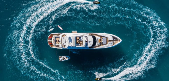 aerial view of Three Rivers yacht with toys