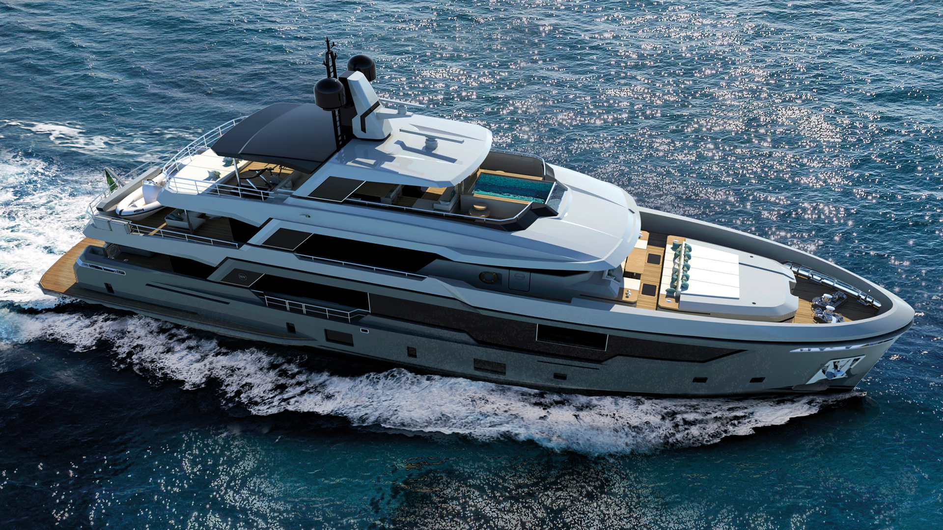 aerial view of the 38m EXT model rendering by Rosetti Yachts - sistership rendering
