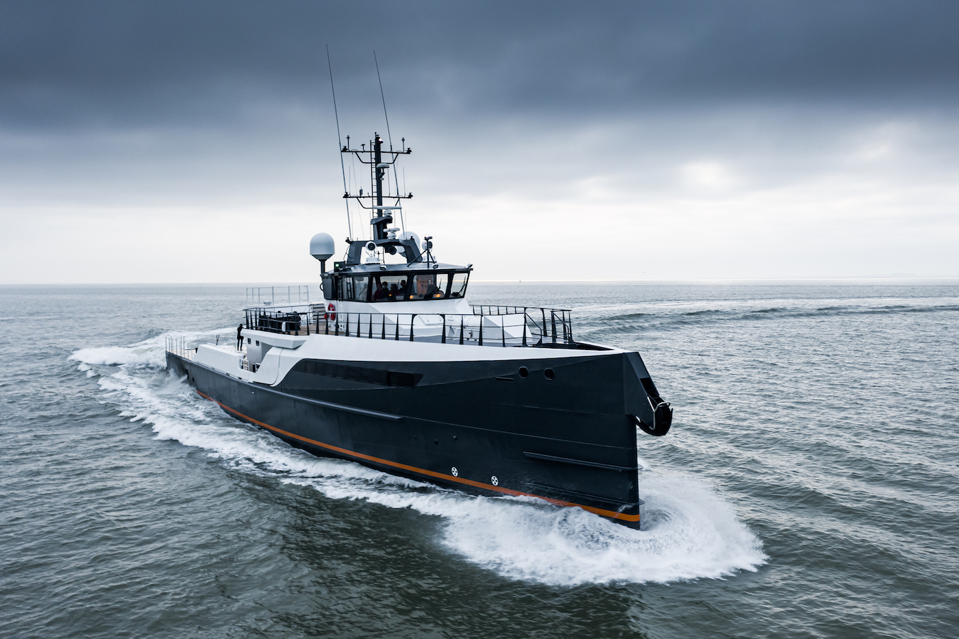 GENE CHASER Yacht Support on sea trials at Damen Yachting - bow view
