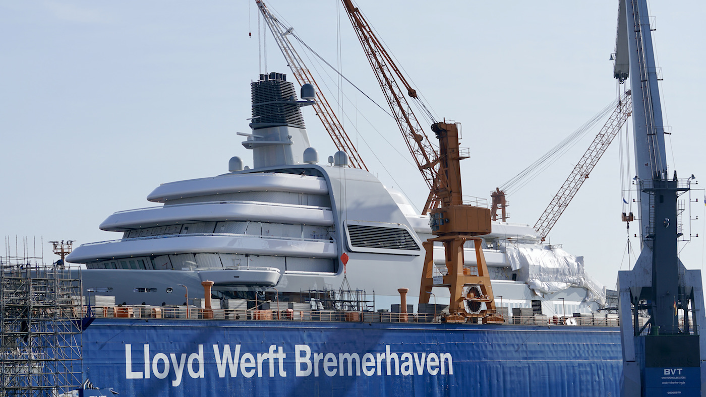Luxury yacht SOLARIS uncovered and getting ready for launch © DrDuu