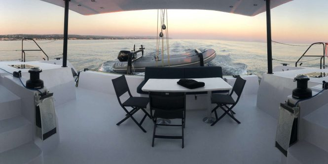Aft deck with tender