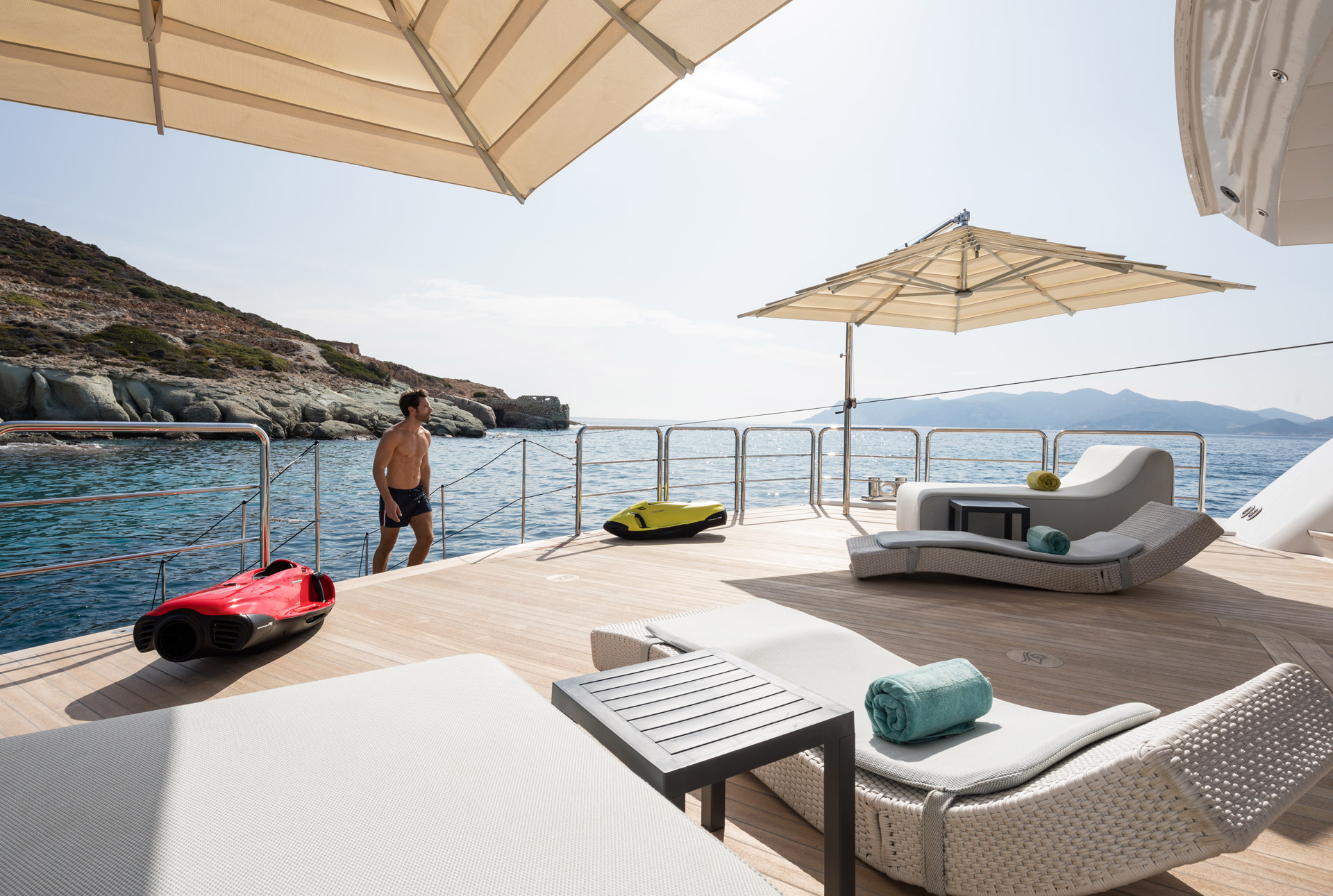 Beach club aboard yacht O'PARI available in the Mediterranean including Greece - Photo © Jeff Brown Photography