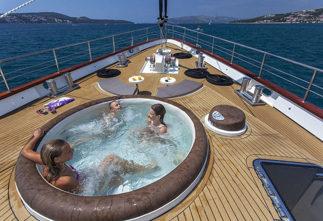 Children enjoying the on deck Jacuzzi pool