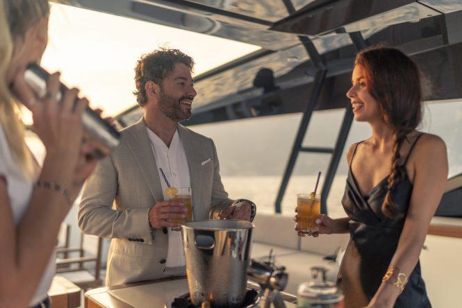Enjoying a summer cocktail on board