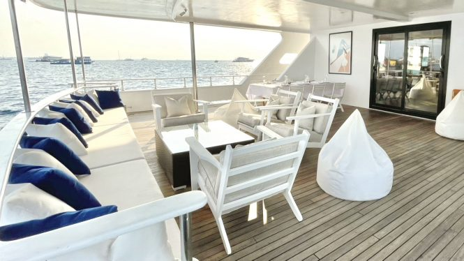 Main deck aft for relaxation and dining