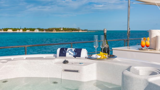 Relaxing Jacuzzi on deck LADY S © Yacht Photography by YachtingImage.com