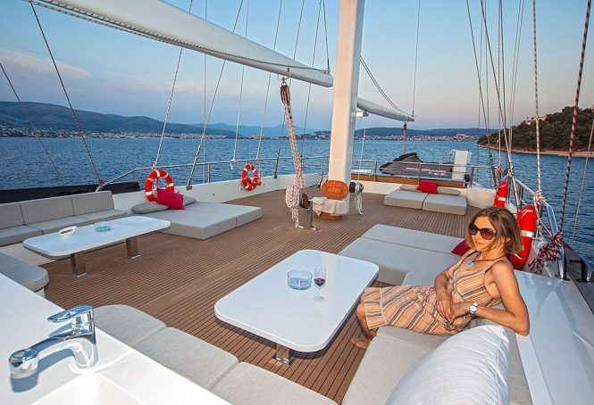 Relaxing on deck and enjoying the Eastern Mediterranean scenery
