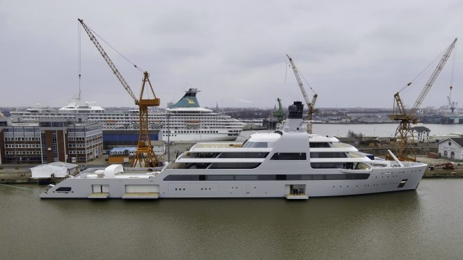 mega yacht SOLARIS at the shipyard © DrDuu