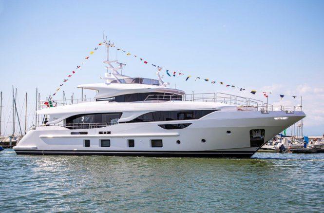 Benetti superyacht BD111 Delfino 95 launch ceremony