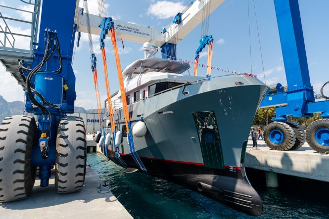 Bering 77 yacht VERONIKA being launched © Photographer Renat Buts