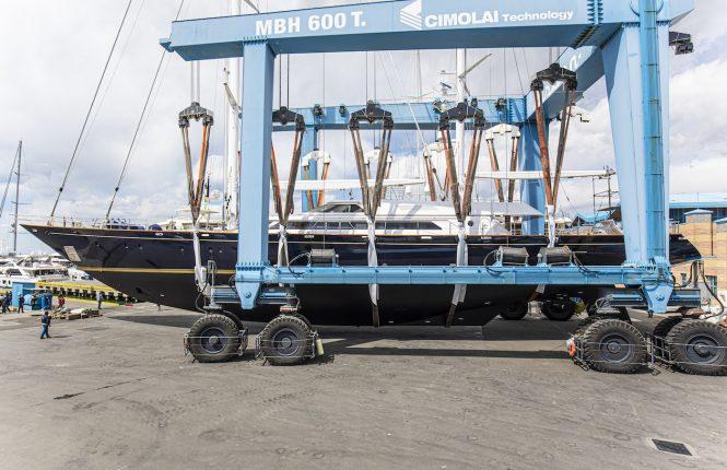 Morning Glory launch at Lusben shipyard
