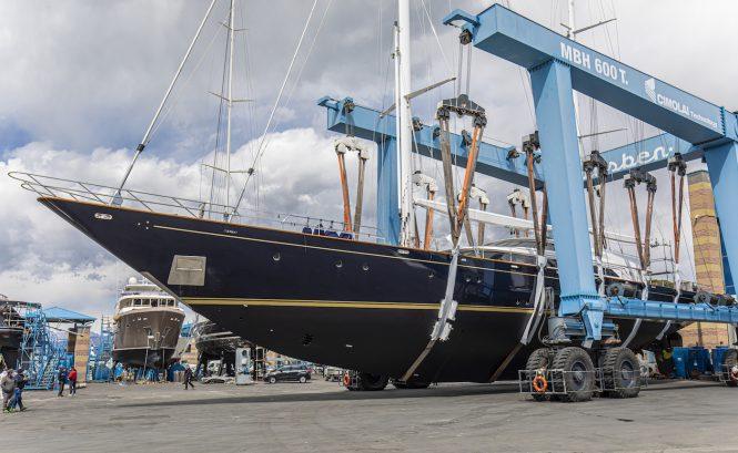 Morning Glory yacht launch at Lusben shipyard